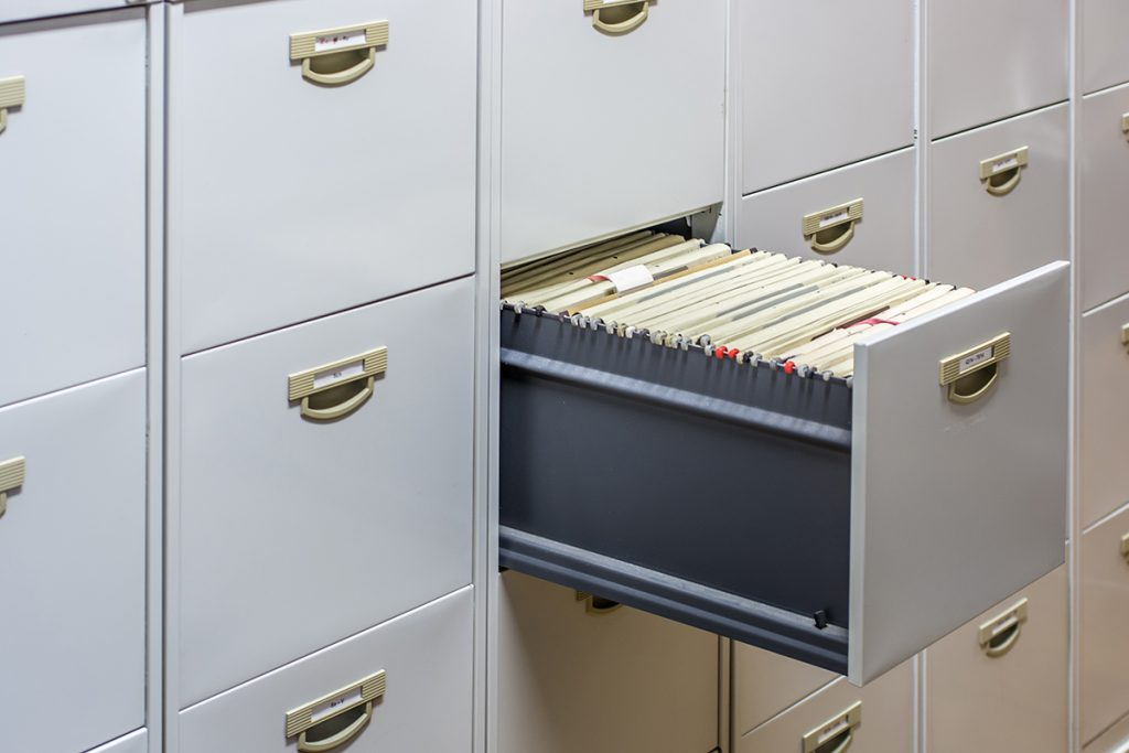 File cabinet full of paper folders